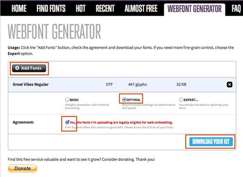 Use the webfont generator