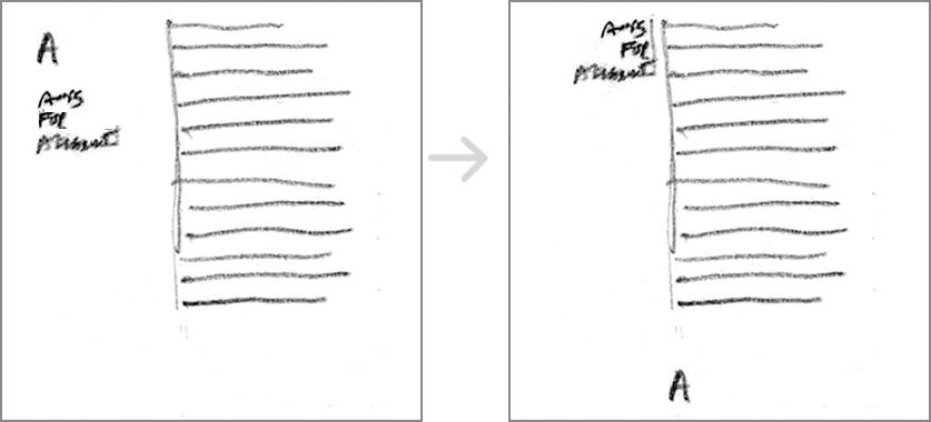 Emphasized vertical line
