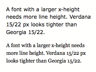 Verdana vs Georgia line-height