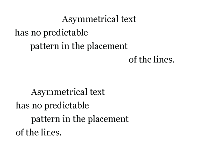 Assymetrical text