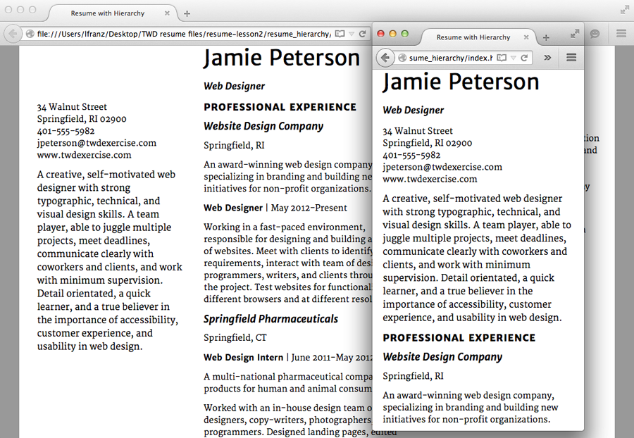 exercise resume add hierarchy typographic web design 3