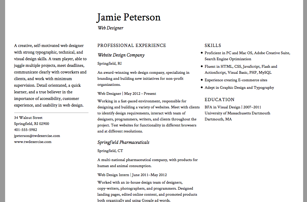 exercise 187 classical resume use a classical approach