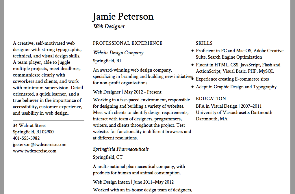 what is the appropriate font size for a resume standard