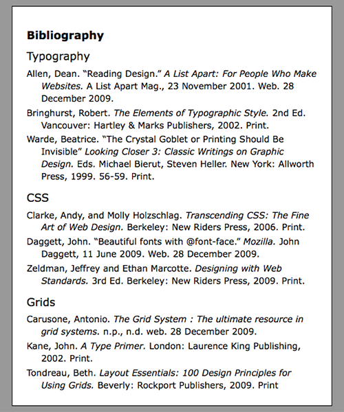 Exercise 187 Bibliography Web Safe Font Typographic Web