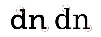 Comparing serifs